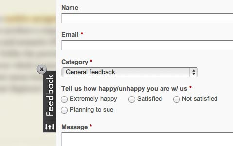Feedback form on a website
